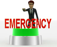 3d man about to press green emergency concept Stock Image