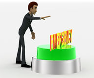 3d man about to press green emergency concept Stock Photography