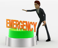 3d man about to press green emergency concept Stock Photo