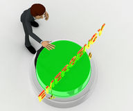 3d man about to press green emergency concept Royalty Free Stock Image