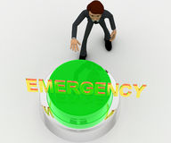 3d man about to press green emergency concept Stock Images