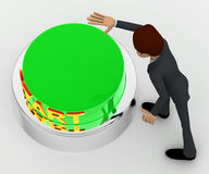 3d man about to press green star concept Stock Image