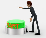 3d man about to press green star concept Royalty Free Stock Images