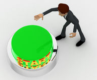 3d man about to press green star concept Royalty Free Stock Photo