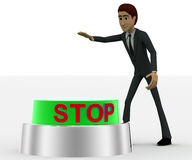 3d man about to press green stop concept Royalty Free Stock Photo