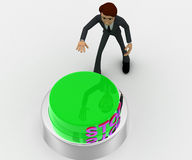 3d man about to press green stop concept Royalty Free Stock Photography