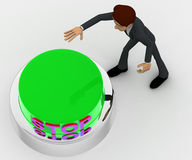 3d man about to press green stop concept Stock Photo