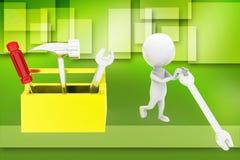 3d man  tool box illustration Stock Images