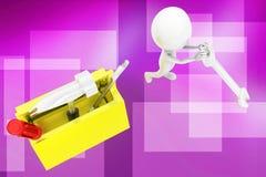 3d man  tool box illustration Royalty Free Stock Photo