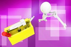 3d man  tool box illustration Royalty Free Stock Photo