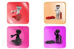 3D Man with tool and gear concept icon Stock Images