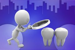 3d man tooth magnifier illustration Royalty Free Stock Photo
