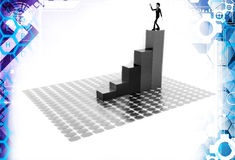 3d man on top of bar graph illustration Stock Image