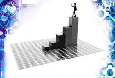 3d man on top of bar graph illustration Royalty Free Stock Photos
