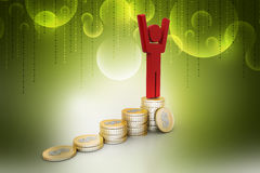 3d man on the top of money graph. In color background Stock Photography