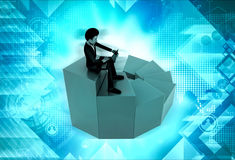 3d man on top stair concept Royalty Free Stock Photo