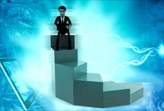 3d man on top stair concept Royalty Free Stock Photos