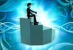 3d man on top stair concept Stock Image