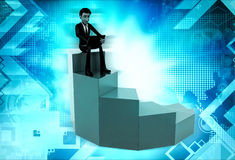 3d man on top stair concept Stock Photography