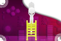 3d man on the top of stair to get mail illustration Royalty Free Stock Photo