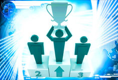 3d man top three with award cup up in hand illustration Stock Image