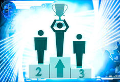 3d man top three with award cup up in hand illustration Royalty Free Stock Images