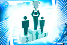 3d man top three with award cup up in hand illustration Royalty Free Stock Image