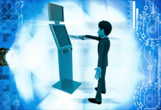 3d man touch with stick on touch screen illustration Royalty Free Stock Photos