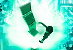 3d man touch with stick on touch screen illustration Royalty Free Stock Images