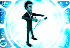 3d man with touch tablet illustration Stock Photography