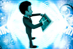 3d man with touch tablet illustration Royalty Free Stock Image