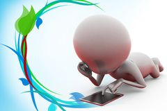 3d man touchpad illustration Royalty Free Stock Photography