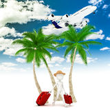 3d man tourist and plane Stock Images