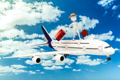 3d man tourist and plane Royalty Free Stock Photo