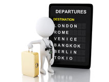 3d man tourist with travel suitcases and airport board Royalty Free Stock Photography