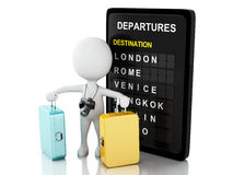 3d man tourist with travel suitcases and airport board. 3d White people. Tourist with travel suitcases, camera and airport board. Vacation concept Royalty Free Stock Images