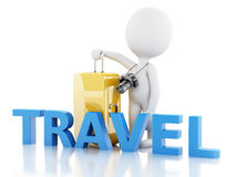 3d man tourist with travel suitcases and camera Royalty Free Stock Images