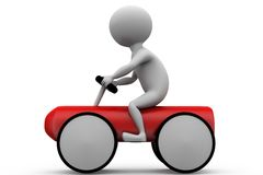 3d man toy car concept Royalty Free Stock Photo