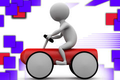 3d man toy car illustration Stock Images