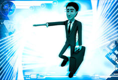 3d man with toy key on back illustration Stock Image