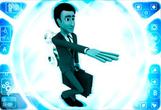 3d man with toy key on back illustration Stock Photo