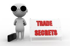 3d  man trade secret concept Royalty Free Stock Image