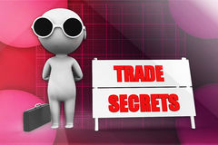 3d  man trade secret illustration Stock Photos