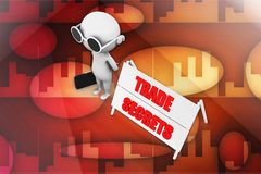 3d  man trade secret illustration Royalty Free Stock Photo