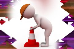 3d man traffic cone Royalty Free Stock Image