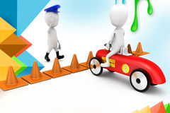 3d man traffic cone car drive  illustration Royalty Free Stock Photos