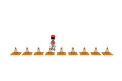 3d man traffic cone concept Stock Images