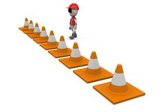 3d man traffic cone concept Royalty Free Stock Image