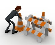 3d man with traffic cones and hurdle concept Royalty Free Stock Photo