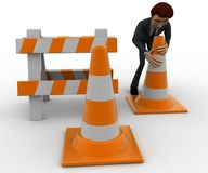 3d man with traffic cones and hurdle concept Stock Image